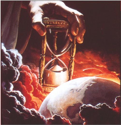 Dios y el mundo con reloj de arena